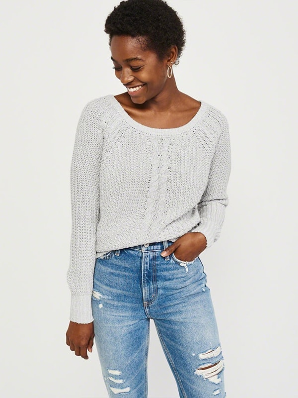 Cable knitted neck sweater
